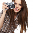 Girl photographer is waiting for the shot — Stock Photo #11443040