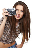 Girl photographer is waiting for the shot — Stock Photo