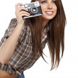 Girl photographer is waiting for the shot — Stock Photo #11465044