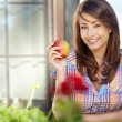 portrait of a young beautiful girl with red apple on a backgroun — Stock Photo