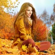 Young brunette woman portrait in autumn color — Stock Photo #11798251