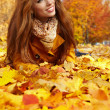 Young brunette woman portrait in autumn color — Stock Photo #11798282