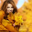 Young brunette woman portrait in autumn color — Stok fotoğraf