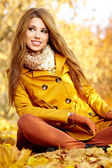 Young brunette woman portrait in autumn color — Stock Photo