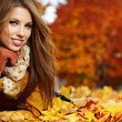 Stock Photo: Portrait of very beautiful young womin autumn park