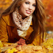 Portrait of very beautiful young woman in autumn park — Stock Photo #11987090