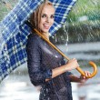 Woman in rain on street - Stockfoto