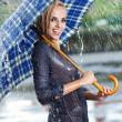 Woman in rain on street — Stock Photo