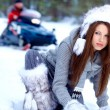 Winter woman on snow background — Stock Photo #12048431