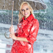 Woman in raincoat smiling as she holds umbrella — Foto de Stock