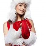 pin-up sexy dziewczyna nosi ubrania Mikołaja — Zdjęcie stockowe