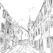 Croatia town street - sketch illustration — Stock Photo