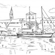 Stock Photo: Croatia town street - sketch illustration