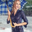 Sexy girl under umbrella watching the rain — 图库照片 #12367870