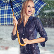 Sexy girl under umbrella watching the rain — Stock Photo #12367870