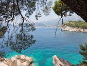 Beautiful coastline view with sea-green water — Stock Photo