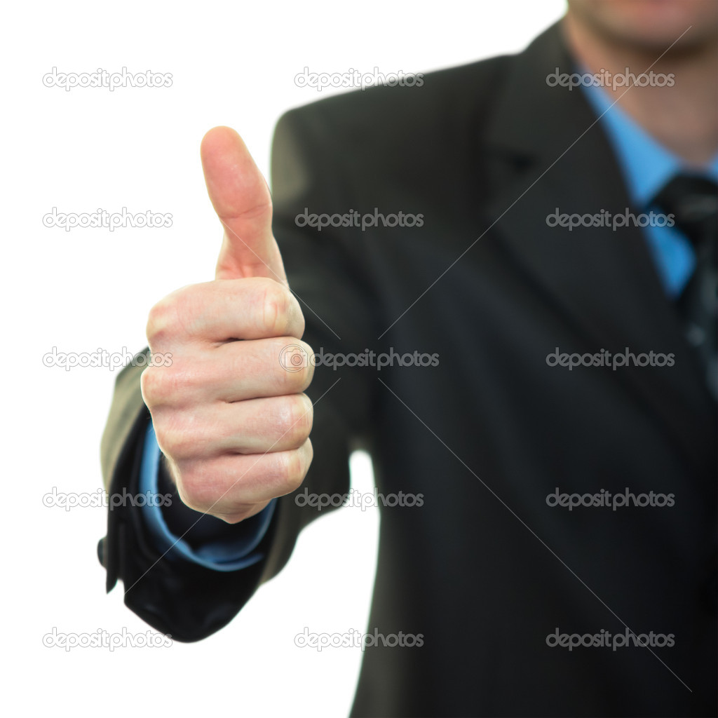 Business man hand with thumb up on white background — Stock Photo #11953006