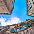 Royalty-Free Stock Photo: Fish-eye view of the old city on sky background