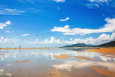 Tarifa beach in Spain with kitesurfers — Stock Photo