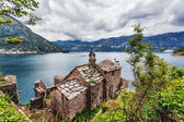 The old church overlooking the sea in bad weather — Stock Photo