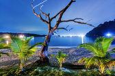 Noc na tropické pláži. thajsko — Stock fotografie