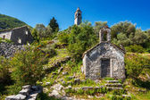 View on old ortodox church at moutains — Stock Photo
