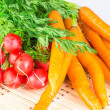 Royalty-Free Stock Photo: Fresh carrots and radishes with tops
