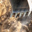 Excavator bucket closeup .Excavation — Stock Photo