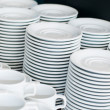 Catering. saucers, and cups of tea. — Stock Photo #11663446