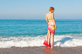 Beautiful woman on outdoor at summer beach — Stock Photo