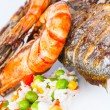 Giant prawns with sea bass fish. — Stock Photo