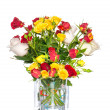 Bouquet of red and yellow roses - Stock Photo