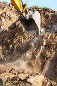 Excavator bucket closeup .Excavation — Stock Photo