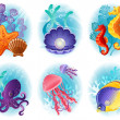 Stock Vector: Sea animals icons