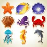 Sea animals icons — Stock Vector