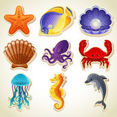 Iconos animales de mar — Vector de stock