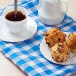 Muffins on plate, jug of milk and cup of coffee — Stock Photo