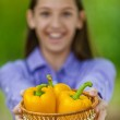 Teenage girl shows basket with orange peppers — Stock Photo #11371903