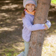 Stock Photo: Girl-preschooler hands clasped tree