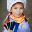 Girl-preschooler keeps bank credit card — Stock Photo