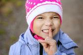 Girl-preschooler in blue jacket — Stock Photo