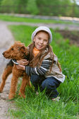 Little girl with terrier — Stock Photo