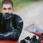 Man rides nice bike — Stock Photo