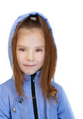 Girl-preschooler in blue jacket — Stock Photo