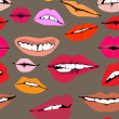 Seamless background with different lips - Stock Vector