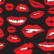 Stock Vector: Seamless background with different red lips