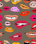 Seamless background with different lips — Stock Vector