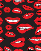 Seamless background with different red lips — Stock Vector