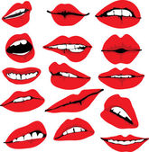 Set of different lips — Stock Vector