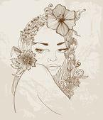 Mano disegnata bella donna con fiori nei capelli — Vettoriale Stock
